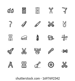 Editable 25 cutter icons for web and mobile. Set of cutter included icons line Scissors, Saw, Pizza cutter, Sharpener, Pruning shears, Staple, Scythe on white background