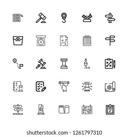 Editable 25 decision icons for web and mobile. Set of decision included icons line List, Direction, Split, Sign Post, Planning, Strategy, Choice, Guilt, Auction on white background