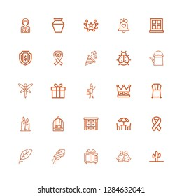Editable 25 decoration icons for web and mobile. Set of decoration included icons line Cactus, Bells, Gift, Petard, Leaf, Ribbon, Chairs, Cabinet, Bird cage on white background