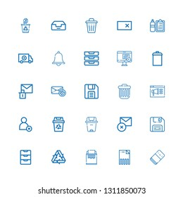 Editable 25 delete icons for web and mobile. Set of delete included icons line Eraser, Delete, Paper shredder, Recycling, Inbox, Diskette, Trash can, Cancel on white background