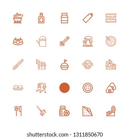 Editable 25 dinner icons for web and mobile. Set of dinner included icons line Tin, Sandwich, Bottles, Soda can, Restaurant, Onigiri, Pie, Knife, Couple, Croquette on white background