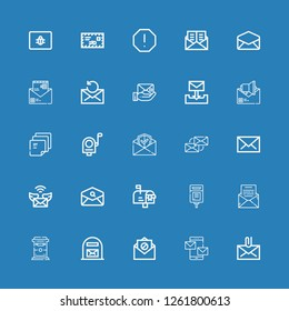 Editable 25 e-mail icons for web and mobile. Set of e-mail included icons line Mail, Mails, Email, Mail box, Mailbox, Post it, Envelope, Spam on blue background