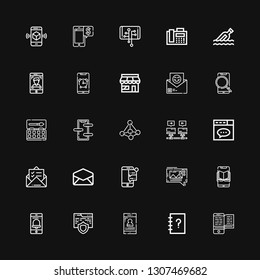 Editable 25 email icons for web and mobile. Set of email included icons line Smartphone, Contacts, Website, Mms, Email, Mail, Communications, Contact, Watercolor on black background