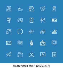 Editable 25 envelope icons for web and mobile. Set of envelope included icons line Book recycled, Spam, Mail, Email, Send, Postman, Mms, Message, Envelope, Postcard on blue background