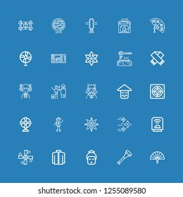 Editable 25 fan icons for web and mobile. Set of fan included icons line Fan, Vuvuzela, Geisha, Kimono, Engine propeller, Heater, Shuriken, Chinese, Extractor on blue background