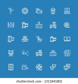 Editable 25 filmstrip icons for web and mobile. Set of filmstrip included icons line Theatre, Theater, Film reel, Video, Strip, Projector, Director chair, Film on blue background