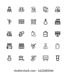 Editable 25 flask icons for web and mobile. Set of flask included icons line Test tube, Formula, Scientist, Science, Flask, Hip Blood test, Tube, Thermos on white background