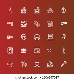 Editable 25 football icons for web and mobile. Set of football included icons line Vuvuzela, School, Toy, Fan, Billiard, Football player, Whistle, Merit, Dodge on red