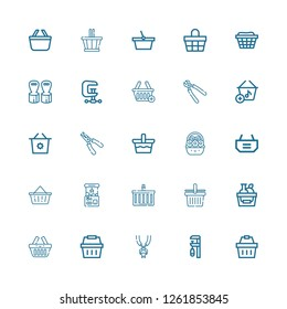 Editable 25 grip icons for web and mobile. Set of grip included icons line Shopping basket, Clamp, Tooth pliers, Basket, Claw machine, Plier, Pliers, Hand grip on white background