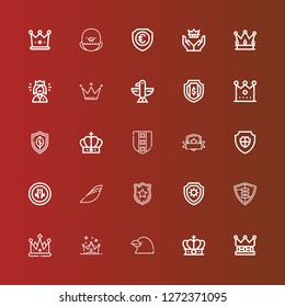 Editable 25 heraldic icons for web and mobile. Set of heraldic included icons line Crown, Raven, Shield, Police badge, Iberia, Eagle, Queen on red