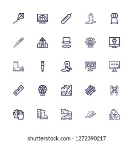 Editable 25 high icons for web and mobile. Set of high included icons line Mountains, Skydiving, Shoes, Boots, Clap, Jetpack, Skii, Cliff, Ferris wheel, Level on white background