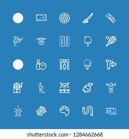 Editable 25 hobby icons for web and mobile. Set of hobby included icons line Sewing machine, Worm, Paint palette, Skii, Pincushion, Drone, Golf, Golfer, Bingo on blue background