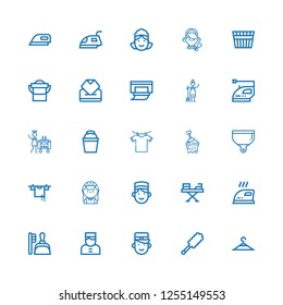 Editable 25 housekeeping icons for web and mobile. Set of housekeeping included icons line Clothing hanger, Duster, Bellboy, Dustpan, Iron, Concierge, Maid on white background