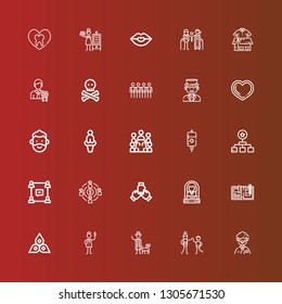 Editable 25 human icons for web and mobile. Set of human included icons line Man, Uncle, Detective, Nurse, Chakra, Write, Woman, Teamwork, Team, Group, Hierarchy, Blood on red