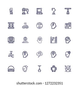 Editable 25 intelligence icons for web and mobile. Set of intelligence included icons line Hologram, Robot, Industrial robot, Mind, Cap, Retrocognition, Robot arm on white background