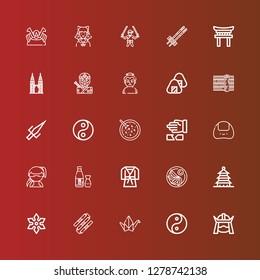 Editable 25 japan icons for web and mobile. Set of japan included icons line Samurai, Yin yang, Origami, Nunchaku, Shuriken, Pagoda, Jiaozi, Judo, Sake, Ninja, Onigiri on red