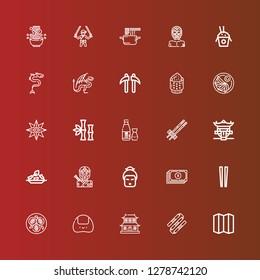 Editable 25 japanese icons for web and mobile. Set of japanese included icons line Folding screen, Nunchaku, Dojo, Onigiri, Tofu, Chopsticks, Yuan, Geisha, Ninja, Rice on red