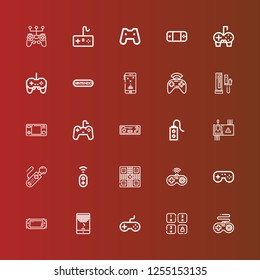 Editable 25 joypad icons for web and mobile. Set of joypad included icons line Gamepad, Game, Joystick, Console, Controller, Nintendo on red