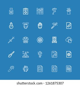 Editable 25 magic icons for web and mobile. Set of magic included icons line File, Unicorn, Magic wand, Voodoo, Iceland, Broomstick, Trick, Spiritual, Clown on blue background