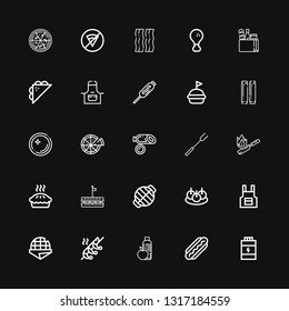 Editable 25 meat icons for web and mobile. Set of meat included icons line Proteins, Hot dog, Food, Shrimp, Stroopwafel, Apron, Bitterballen, Grill, Sandwich on black background
