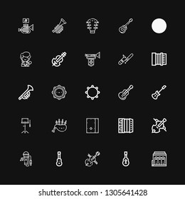 Editable 25 musician icons for web and mobile. Set of musician included icons line Philharmonic, Guitar, Cello, Acoustic guitar, Singing, Accordion, Cajon on black background