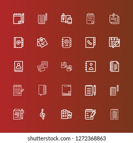 Editable 25 notepaper icons for web and mobile. Set of notepaper included icons line Note, Notes, Notepad, Sticky note, Agenda on red