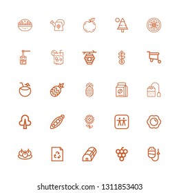 Editable 25 organic icons for web and mobile. Set of organic included icons line Dropper, Grape, Greenhouse, Recycle, Bitterballen, Fried egg, Apple, Sunflower on white background