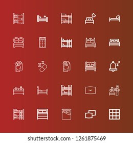 Editable 25 pillow icons for web and mobile. Set of pillow included icons line Blanket, Pillows, Bed, Bunk bed, Bedtime, Pillow, Double bed, Snooze, Relax, Sleeping, Mattress on red