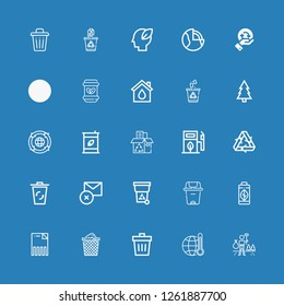 Editable 25 recycling icons for web and mobile. Set of recycling included icons line Environment, Global warming, Trash, Trash can, Delete, Green energy, Recycling bin on blue background