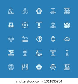 Editable 25 robot icons for web and mobile. Set of robot included icons line Robot arm, Engineering, Space Transhumanism, Industrial Conveyor on blue background