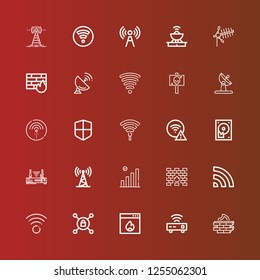 Editable 25 router icons for web and mobile. Set of router included icons line Firewall, Router, Vpn, Wifi, Antenna, Hard disc, Hotspot, Signal, Wifi signal on red