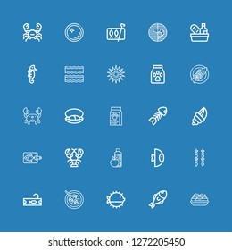 Editable 25 seafood icons for web and mobile. Set of seafood included icons line Takoyaki, Fish, Puffer fish, Cantonese seafood soup, Tuna, Brochette, Food on blue background