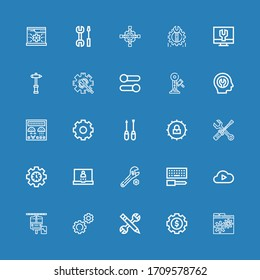 Editable 25 settings icons for web and mobile. Set of settings included icons line Settings, Configuration, Maintenance, Cloud computing, Wrench, Login, Screwdriver on blue background