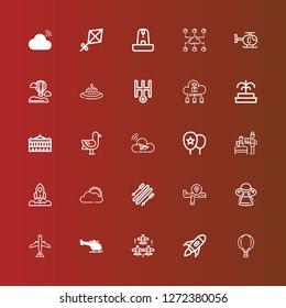 Editable 25 sky icons for web and mobile. Set of sky included icons line Hot air balloon, Rocket launch, Aircraft, Helicopter, Ufo, Airplane, Skii, Sun cloud, Rocket, Bedtime on red