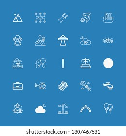 Editable 25 sky icons for web and mobile. Set of sky included icons line Balloons, Noon, Obelisk, Cloud, Aircraft, Helicopter, Parasailing, Skii, Carrier, Mountain on blue background
