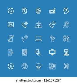 Editable 25 smart icons for web and mobile. Set of smart included icons line Jetpack, Settings, Computer, Transhumanism, Selfie stick, Selfie, Tablet, Mobile on blue background