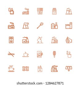 Editable 25 smoke icons for web and mobile. Set of smoke included icons line Cups, Chimney, Lighter, Coffee cup, BBQ grill, Matches, Cup, No smoke, Nuclear plant on white background