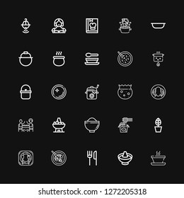 Editable 25 soup icons for web and mobile. Set of soup included icons line Soup, Hot pot, Restaurant, Cantonese seafood soup, Pot, Noodles, Bowl, Peking duck on black background