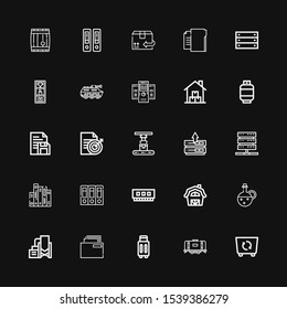 Editable 25 storage icons for web and mobile. Set of storage included icons line Container, Tank, Suitcase, Folder, Reservoir, Oil, Barn, Ram, Archives, Server on black background