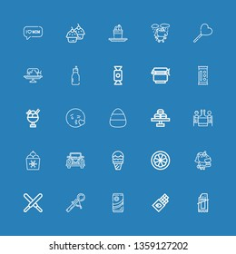 Editable 25 sweet icons for web and mobile. Set of sweet included icons line Chocolate bar, Chocolate, Scoop, Unicorn, Mangosteen, Ice cream, Wedding car, Romantic dinner on blue background