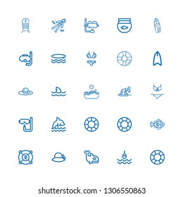 Editable 25 swim icons for web and mobile. Set of swim included icons line Lifesaver, Buoy, Orca, Pamela, Clown fish, Dolphin, Dive, Bikini, Whale, Swimming on white background