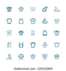 Editable 25 tee icons for web and mobile. Set of tee included icons line Shirt, Golfer, Tshirt, Sleeveless, Sleeveless shirt, Golf on white background