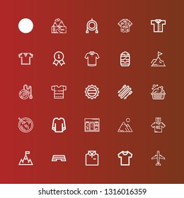 Editable 25 top icons for web and mobile. Set of top included icons line Aircraft, Shirt, Step, Goal, Tshirt, Mountains, Topping, Sweatshirt, Sour soup, Washbowl, Skii on red
