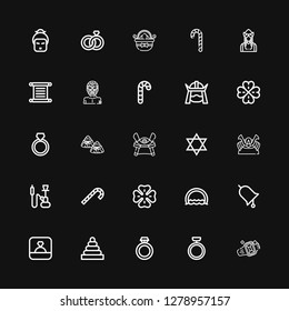 Editable 25 tradition icons for web and mobile. Set of tradition included icons line Ring, Rings, Clover, Candy cane, Hookah, Shogun, Judaism, Samurai, Zongzi on black background