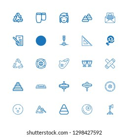 Editable 25 triangle icons for web and mobile. Set of triangle included icons line Reflector, Billiard, Candy corn, Triangle, Shocked, Cymbal, Cymbals, Harmonica on white background