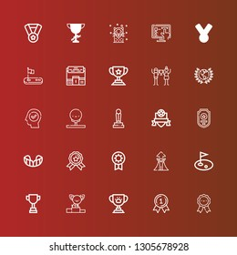 Editable 25 trophy icons for web and mobile. Set of trophy included icons line Medals, Medal, Trophy, Podium, Golf, Success, Prize, Gum shield, Badge, Award, Triumph, Pedestal on red