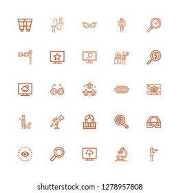 Editable 25 view icons for web and mobile. Set of view included icons line Vigilance, Microscope, Television, Search, Vision, d glasses, Searching, Balcony on white background
