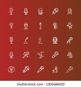Editable 25 vocal icons for web and mobile. Set of vocal included icons line Microphone, Singing, Karaoke, Singer on red