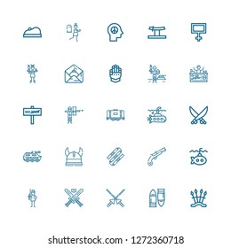 Editable 25 war icons for web and mobile. Set of war included icons line Weapons, Bullet, Spears, Swords, Soldier, Submarine, Musket, Nunchaku, Viking, Tank on white background