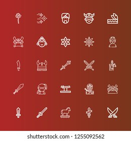 Editable 25 warrior icons for web and mobile. Set of warrior included icons line Saber, Sword, Trojan, Shogun, Ninja, Katana, Mythology, Swords, Viking, Sabre, Sumo, Shuriken on red